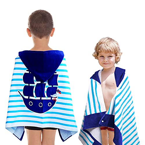 """Kids Baby and Toddler Hooded Towels 100% Soft & Absorbent Cotton Boys and Girls Towels with Hood After Bath Beach Swimming and Outdoor 24""""x 48"""" Pirate"""