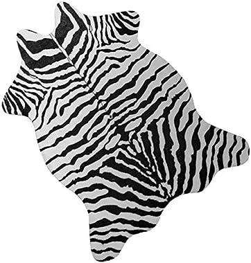 Faux Zebra Rug (3.6' x 2.5') - Zebra Print Western Boho Decor - Synthetic, Cruelty-Free Animal Hide Carpet with No-Slip Backing