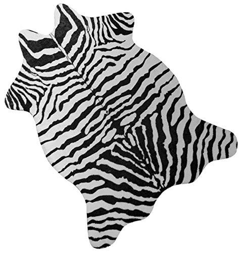 NativeSkins Künstlicher Zebra-Teppich (1,1 x 0,8 m) – Zebra-Druck Western Boho Dekor – synthetischer, tierversuchsfreier Tierfell-Teppich mit rutschfester Unterseite
