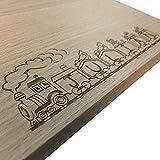 Laser Tattoo Frühstücksbrett aus Buche Holz mit Gravur des Namens in die Lokomotive