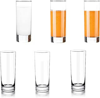 Lhx Transparent Base High Pole Bar Glass, Drinking Glasses Straight Cup For Water, Juice, Beer, And Cocktail, 5 inches Tall (Set of 6) (Small)