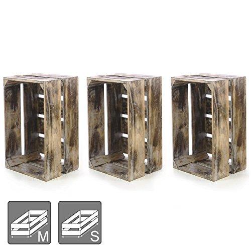 """Divero 3er-Set Vintage Holzkiste braun geflammt Staubox Weinkiste Obstkiste Größe """"L"""" 51,5 x 36,5cm / Höhe 23cm Stapelbox Spielzeugkiste Regal-Box"""