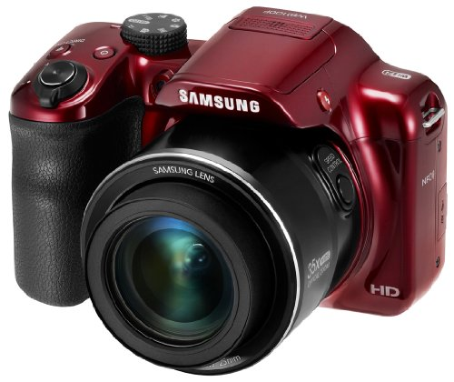 Samsung WB WB1100F DSLR Kamera Kit 16,2 MP CCD (Ladentransfer) 4608 x 3456 Pixel rot - Digitalkameras (16,2 MP, 4608 x 3456 Pixel, CCD (Ladeübertragung) 35x, HD, rot)