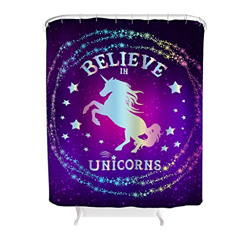 Charzee douchegordijn Unicorn bedrukt antibacterieel wasbaar douchegordijn badkamer gordijn voor badkamer badkuip