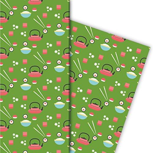 Kartenkaufrausch Japanisches Geschenkpapier Set 4 Bogen, Dekorpapier mit Sushi • tolle Geschenkverpackung, Musterpapier zur Taufe, Geburt, Ostern, Geburtstag, Hochzeit, Weihnachten 32 x 48cm, grün