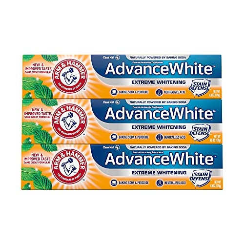ARM & HAMMER Advanced White Extreme Whitening Toothpaste, TRIPLE PACK (Contains Three 6oz Tubes) -Clean Mint - Fluoride Toothpaste