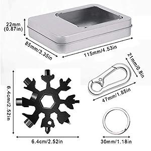 Eagool Multi herramienta copo de nieve Tarjeta de la herramienta del copo de nieve Destornillador multi-herramienta de acero Llavero Abrebotellas Tarjeta (Negro)