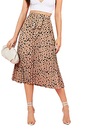 Floerns Women's Floral Printed Elastic Waist A Line Pleated Ruffle...