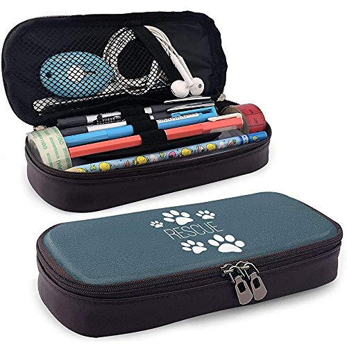 Dog Paw Print Rescue Leather Pencil Case Multifunction Cosmetic Makeup Bag