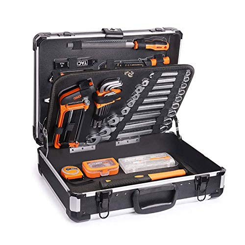 Werkzeug TACKLIFE-Werkzeugkoffer, 136-tlg, Aluminum Werkzeugkoffer, Werkzeugkoffer, Hammer, Schraubendreher-Set, Zange, Hülsen-Set Schraubenschlüsselset-HHK4B