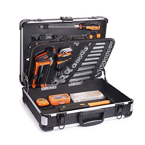 Werkzeug TACKLIFE-WERKZEUGKOFFER, 136-tlg, ALUMINIUM-Koffer, Werkzeugkoffer, Hammer, Schraubendreher-Set, Zange, Hülsen-Set Schraubenschlüsselset-HHK4B