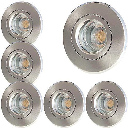 LED Bad Einbauleuchten 230V inkl. 6 x 5W LED LM Farbe Edelstahl geb. IP54 LED Einbaustrahler Nautilus Rund 3000K Deckenspot