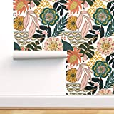 Spoonflower Pre-Pasted Removable Wallpaper, Bohemian Tropical Leaves Floral Pattern Boho Paradise...