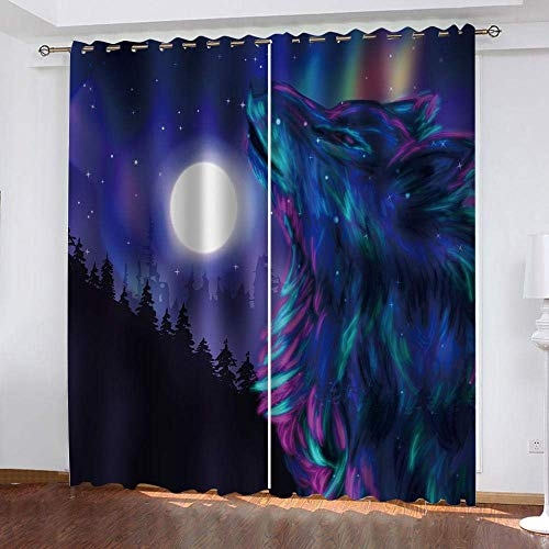 meilishop Blackout Curtains 3D Printing Animal Wolf Art Living Room Bedroom 3D Stereoscopic Flower Curtains Decorations Window Home Decoration 265(H) x200(W) Cmx2 Panels/set