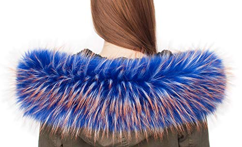Chic Vibe Pelzkragen Pelzschal Stolen Kunstpelz Fellimitat Fuchs Waschbär Fuchs Kapuzen (Blau mit brauen Spitzen, 75cm)