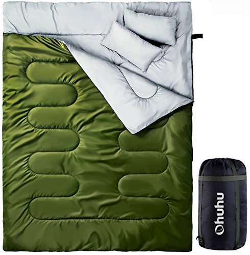 Double Sleeping Bag, Ohuhu 2 Person Sleeping Bags with 2 Pillows for Adults, Teens, Cold Cool Weather Camping, Backpacking, Hiking Accessories in Tent, Can and Truck, Large Queen Size, Green