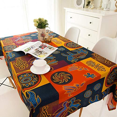 KUCN Kucnretro mesa de comedor de estilo etnico redondo se puede reutilizar, apto para mesa de comedor, mesa de cafe, mesa cuadrada y mesa redonda, Maya., 140 * 250cm