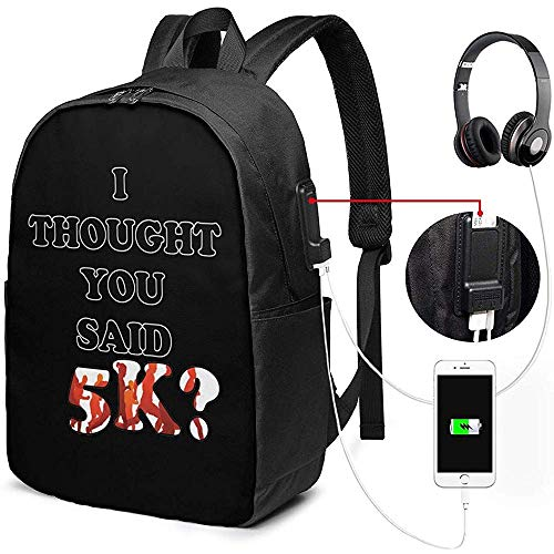 Laptop Bag Backpack Funny 5K Racing Gift for Runners Marathon Laptop Backpack with USB Charging Port,for Unisex School Bag,17Inch