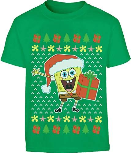 Weihnachtsmann Spongebob Offiziell Nickelodeon Shirt Kinder und Teenager T-Shirt 164 Grün