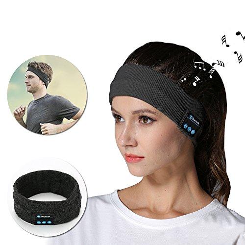 Bluetooth Headphones Headband, Vandot Yoga Diademas Turbante Inalámbrica Deportes Auriculares Construido en Altavoces Estéreo y Mic Micrófono Manos libres con Cancelación de Ruido para Dormir Fitness Ejercicio Running Jogging Paseos Esquí Snowboard, Gris Oscuro