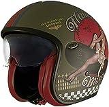 Premier Casco de moto VINTAGE EVO PIN UP MILITARY MAT, Kaki,