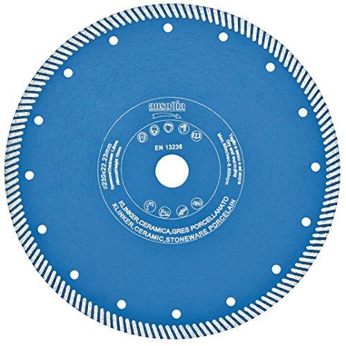 Ausonia - Disco diamantato turbo professionale per ceramica e gres porcellanato. Altezza 10 mm, foro 22,2, spessore corona 1,2, diametro 115