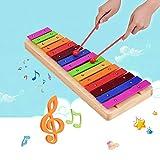 JJmooer Grande 15 note Xilofono Glockenspiel Base in legno Barre in alluminio colorate con mazzuole Strumento a percussione Strumento musicale Regalo per bambini Bambini