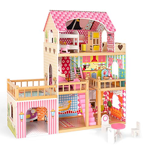 ROBUD Wooden Dollhouse with Furniture, Doll House Play Set Gift for Kids Girls