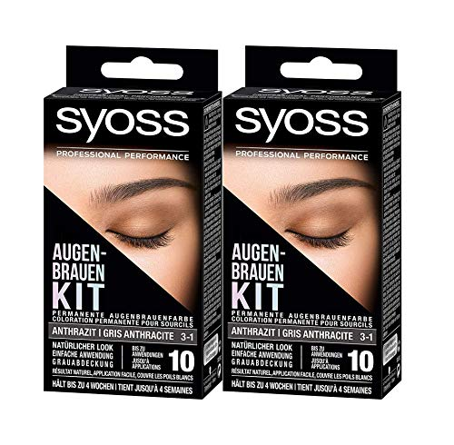 2 x Syoss Augenbrauen Kit 3-1 Anthrazit je 17ml permanente Augenbrauenfarbe