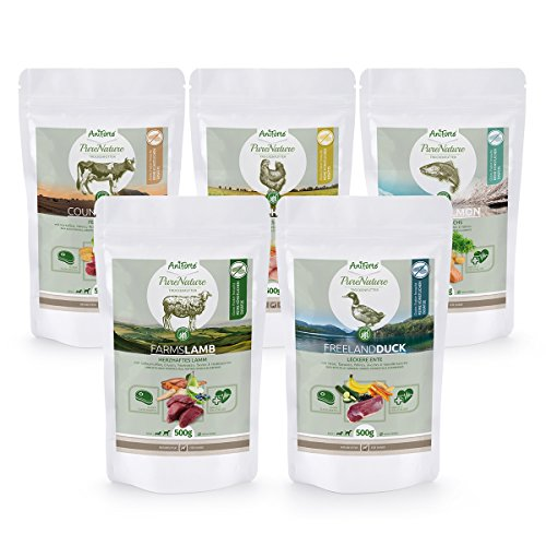 AniForte 100% Natur Trockenfutter Probierpaket 5 x 500g Hundefutter Getreidefrei - Lachs, Rind, Huhn, Lamm und Ente - Adult Futter - OHNE Chemie, OHNE künstliche Zusatzstoffe oder Vitamine