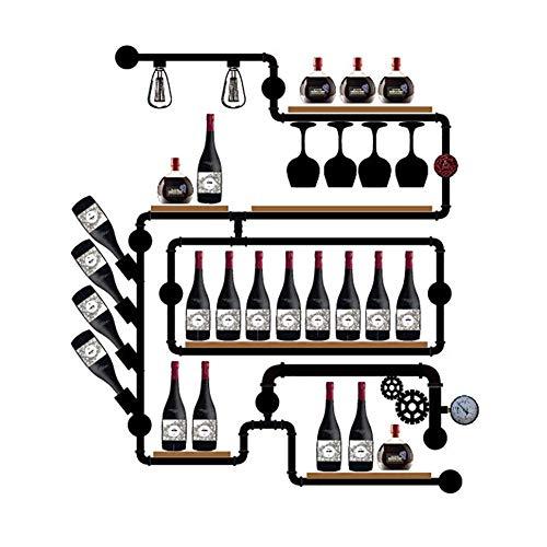 JBNJV Estantes de Pared industriales Estante de Vino rústico, Estantes de Pared para cristalería, Estante Organizador de Almacenamiento de Estante Flotante de tubería Industrial Creativa, Estante