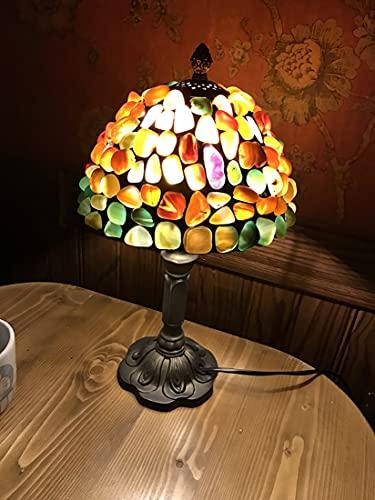 AIBOTY Tiffany Style Lámpara de Mesa de 8 Pulgadas Pastoral Mini Sombra de Piedra manchada con lámpara de Resina Luz de Mesa de Mesa para Dormitorio en la Cama de la Cama