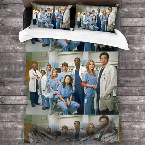 KKAAZXB Juego de ropa de cama Grey's Anatomy, suave y cómodo, poliéster de alta calidad, tres piezas, antiarrugas y antidecoloración, gris Anatomy 2,140 x 210 cm + 80 x 80 cm x 2)