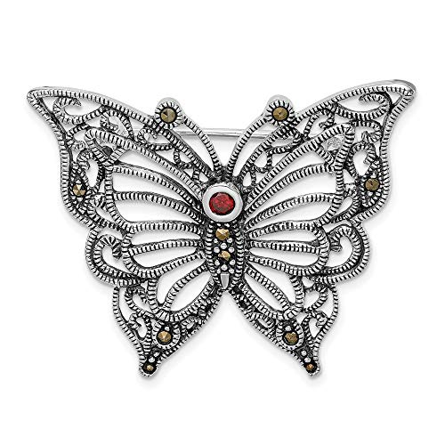 Ryan Jonathan Fine Jewelry Sterling Silver Marcasite Red Cubic Zirconia Butterfly Pin
