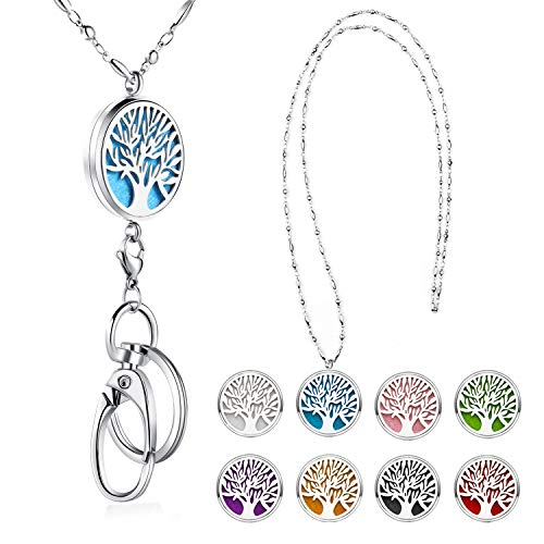SAM & LORI Strong Lanyard Necklace Stainless Steel Beaded Chain Necklace Silver for ID Badge Holder and Key Chains Non Breakaway Pendant for Women Nurse Diffuser Tree of Life
