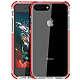 MATEPROX Funda para iPhone 8 Plus Funda para iPhone 7 Plus Transparente, Protección Anti-rasguños Parachoques a Prueba de Golpes para iPhone7 Plus / 8 Plus(Rojo)