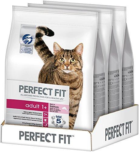Perfect Fit Kattenvoer Droog Voer Adult 1+ Rijk Aan Zalm, 3 Zakken (3 X 2,8 Kg)