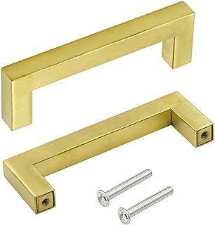 10 قطع من LICTOP 4.25 بوصة (108 مم) طول الذهب مربع بار خزانة مقبض مقبض مقبض خزانة الأجهزة لخزانة المطبخ ، مركز ثقب 3.75 بو...