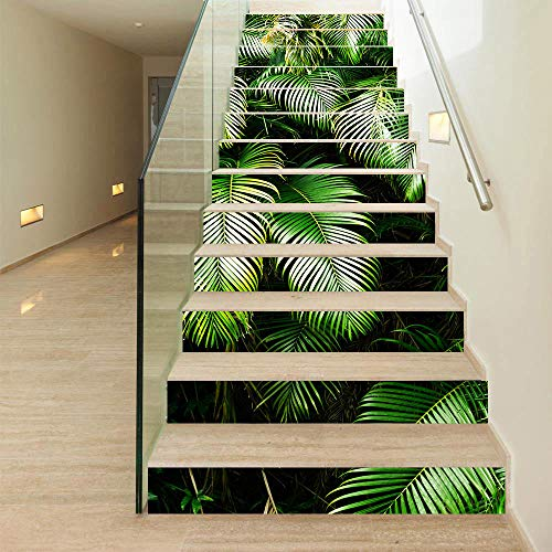 Etiqueta de la pared de la escalera_Nuevo producto Etiqueta simple de la pared del paso de trece plantas verdes