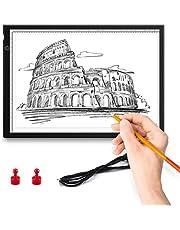 ENCOFT Mesa de Luz Dibujo A4, LED Tableta de Luz Iluminación Ajustable Tablero de Trazado, Ultra Delgada Tracking Light Pad USB para Artistas Diseño Animación Dibuja