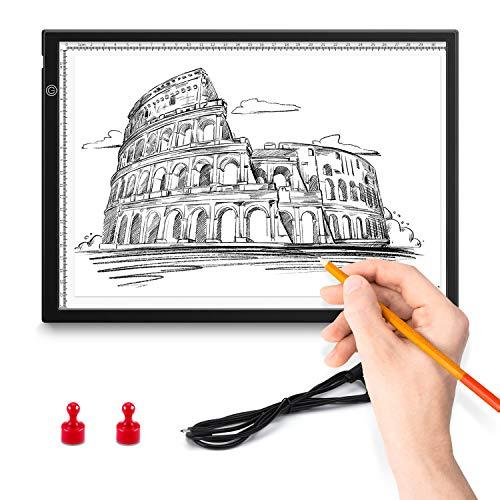 ENCOFT A4 LED Tavoletta Luminosa per Disegno, Lavagna Luminosa Ultra Sottile Tavolette Disegno per Disegnare Schizzo, Luce Regolabile Pad USB per Artisti Animazione