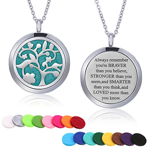 Mtlee Aromatherapy Essential Oil Diffuser Necklace Locket Pendant Stainless Steel Perfume Necklace with 16 Refill Pads and 24 inch Adjustable Chain (Tree of Life)