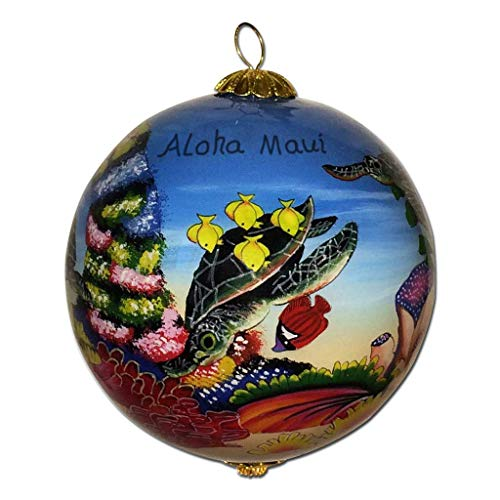 Collectible Hawaiian Sea Turtles Ornament Collectible, Hand Painted from Inside The Glass TA/M