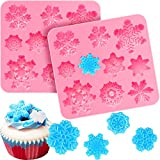 2 Pieces 3D Snowflake Fondant Mold Christmas Snowflake Silicone Mold for Cake Cupcake Decoration Polymer Clay Crafting Projects (Pink)