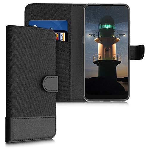 kwmobile Wallet Hülle kompatibel mit Alcatel 3L (2020) - Hülle mit Ständer - Handyhülle Kartenfächer Anthrazit Schwarz