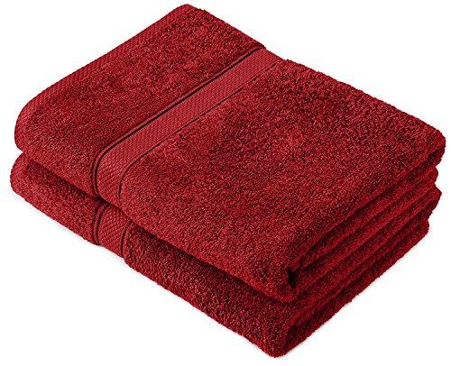 Buoqua - Set di asciugamani in cotone mirtillo rosso, 600 g/m²