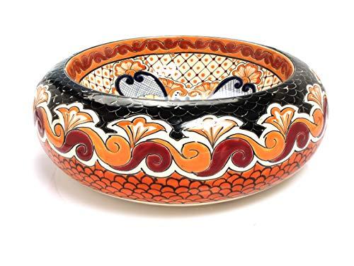 Hortencia - Mexikanische Rund Aufsatzwaschbecken | 40 cm Keramik Talavera Waschbecken aus Mexiko | Buntes Deko motiven | Ideal badezimmer mit holz optik fliesen, zementfliesen, rustikal unterschrank
