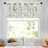 VOGOL Vivid Birds Valances for Windows, Flower Embroidered Kitchen Curtains Valances Rod Pocket Linen Curtain Valance for Living Room 18'' Long, One Panel