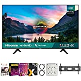 Hisense 65U6G 65 Inch U6G Series 4K ULED Quantum HDR Smart Android TV (2021) Bundle with Premiere Movies Streaming + 37-70 Inch TV Wall Mount + 6-Outlet Surge Adapter + 2X 6FT 4K HDMI 2.0 Cable
