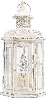 JHY DESIGN Lanternes Décoratives 25cm Haute Vintage Style Lanterne Suspendue Bougeoir en Métal Bougeoir pour Intérieur Balcon